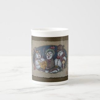 Carolers de Noël de bonhommes de neige Mug