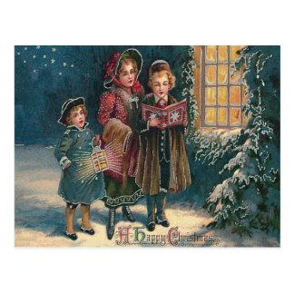 Carolers mignons Caroling d'enfants Carte Postale