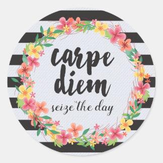 Carpe Diem/saisissent la citation de jour Sticker Rond