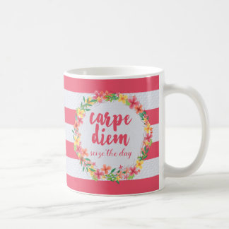 Carpe Diem/saisissent la citation de rose de jour Mug