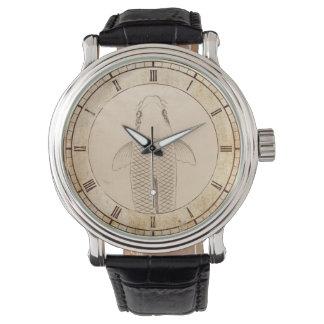 Carpe vintage de koi peignant le vieil art de montres