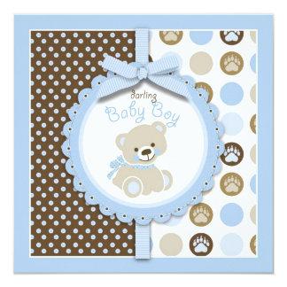 Carré d'invitation de baby shower d'ours de carton d'invitation  13,33 cm