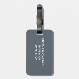 Carré gris de monogramme étiquette à bagage
