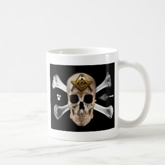 Carré maçonnique de crâne et de boussole d'os mug
