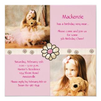 Carré rose de marguerite - fête d'anniversaire de carton d'invitation  13,33 cm