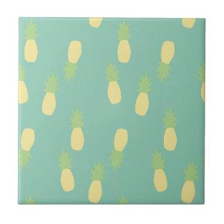 Carreau Ananas arrière exotique bleu en pastel d'amour de