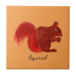 Carreau Animal mignon de région boisée d'écureuil rouge
