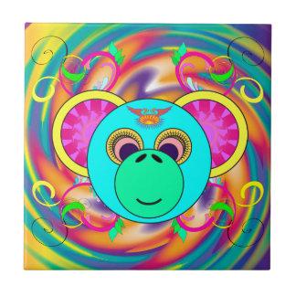 Carreau Animal psychédélique coloré d'arc-en-ciel de singe