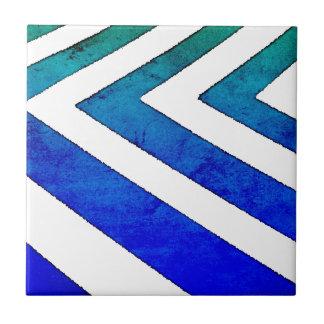 Carreau Aquarelle géométrique de Chevron de vert bleu