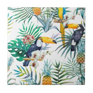 Carreau Aquarelle tropicale d'oiseau de perroquet d'ananas