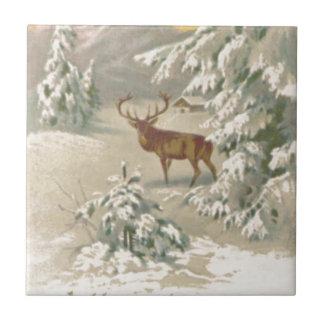 Carreau Arbre de montagne de cabine de neige d'hiver de
