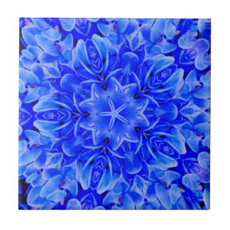 Carreau Art floral pourpre bleu de conception de