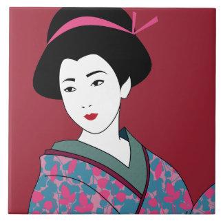 Carreau Beau geisha dans la coutume florale de kimono