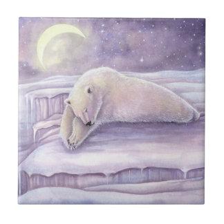 Carreau Belle illustration d'ours blanc confortablement de