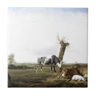 Carreau Bétail et chèvres dans un pré Adriaen van de Velde