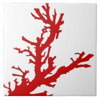 Branche de corail - rouge de corail et blanc