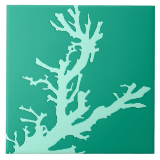 Carreau Branche de corail - vert de sarcelle d'hiver et de