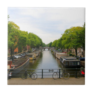 Carreau Canal, ponts, vélos, bateaux, Amsterdam, Hollande