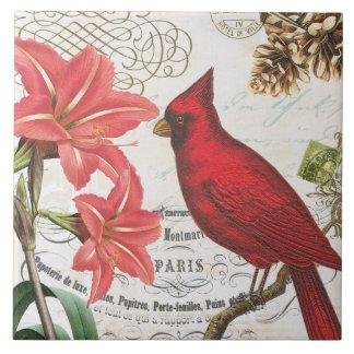 Carreau cardinal français vintage moderne d'hiver