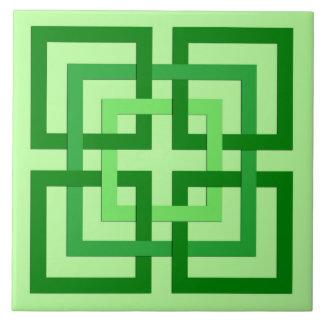 Carreau Carrés géométriques modernes, vert en bon état et