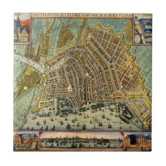 Carreau Carte antique d'Amsterdam, Hollande aka Pays-Bas