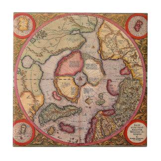Carreau Carte de Vieux Monde antique, Pôle Nord arctique,