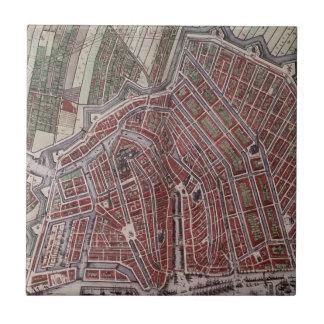 Carreau Carte de ville de reproduction d'Amsterdam 1652