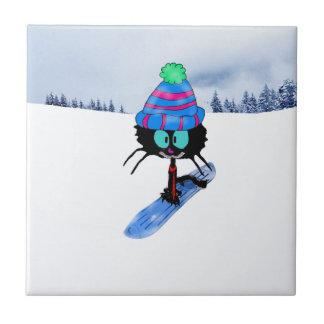 Carreau Chat appréciant la neige d'hiver