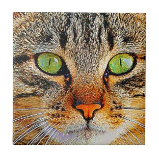 Carreau Chat aux yeux verts fascinant