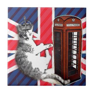 Carreau chat de minou de couronne de cabine téléphonique
