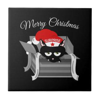 Carreau Chat de Noël dans une boîte-cadeau