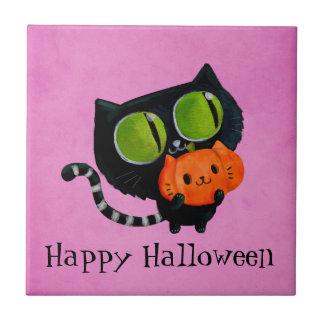 Carreau Chat mignon de Halloween avec le citrouille