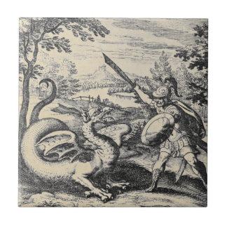 Carreau Chevalier dans l'armure massacrant le dragon