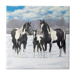 Carreau Chevaux noirs de peinture dans la neige