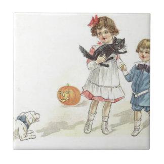 Carreau Chien de chat noir de lanterne de Jack O d'enfants