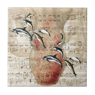 Carreau Collage de dauphins de poulpe