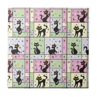Carreau Composition avec 5 chats noirs