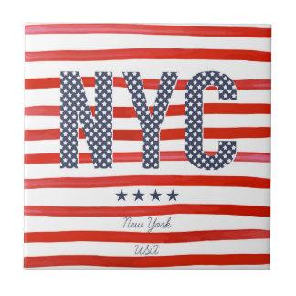 Carreau Conception de rouge de NYC |, blanche et bleue