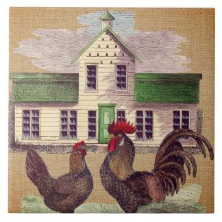 Carreau Conception rustique de poulets de basse cour d'art