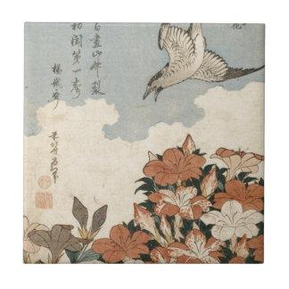 Carreau Coucou et azalées par Katsushika Hokusai