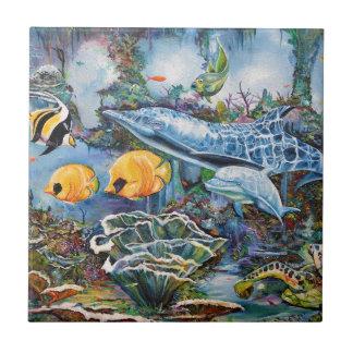 Carreau Dauphin coloré et poissons tropicaux