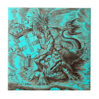 Carreau Dauphin d'équitation de Poseidon de carte du monde
