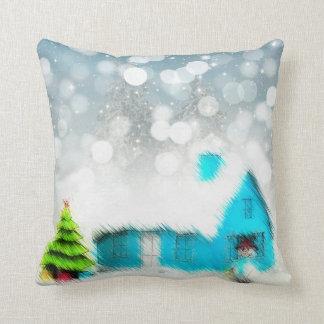 Carreau de bonhomme de neige de cottage de Noël Oreiller