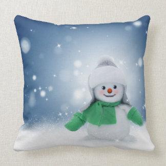 Carreau de bonhommes de neige de danse de Noël Oreiller