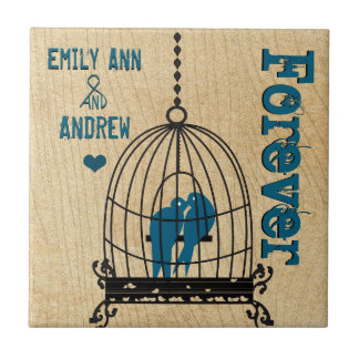 Carreau De cage à oiseaux de grain d'arbre anniversaire en