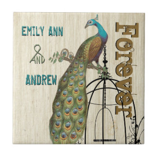 Carreau De cage à oiseaux de paon de grain anniversaire en