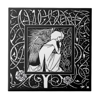 Carreau de céramique d'ange vintage de Beardsley