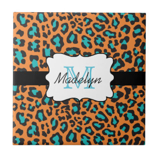 Carreau de céramique d'Aqua noir orange de léopard