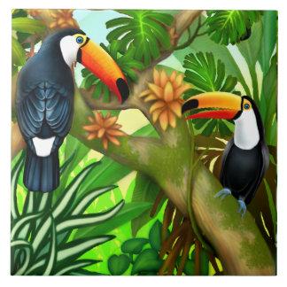 Carreau de céramique de jungle tropicale de toucan