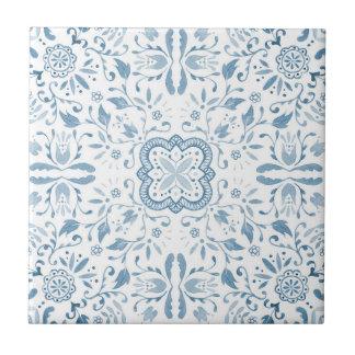 Carreau de céramique de motif bleu vintage